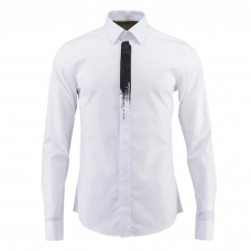 White Dress Shirt with Black Ink Detail