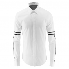 White Cotton Shirt Stripe Sleeves