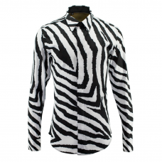 White Zebra Print Dress Shirt