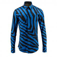 Zebra Print Dress Shirt Blue