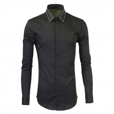 Black Dress Shirt Studded Collar