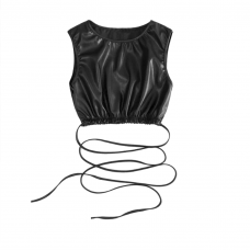 Cropped Leather Tank Top