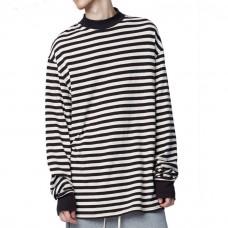Oversized Sweater Black White Stripes