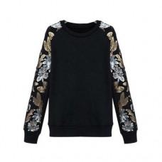 Metal Flower Sequins Rock Sleeve Grunge Black  Top
