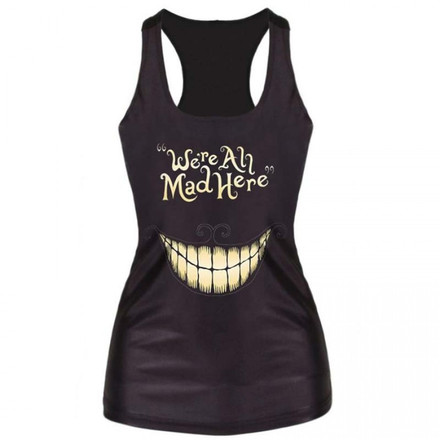 We Are All Mad Here Tank Top Black LATICCI
