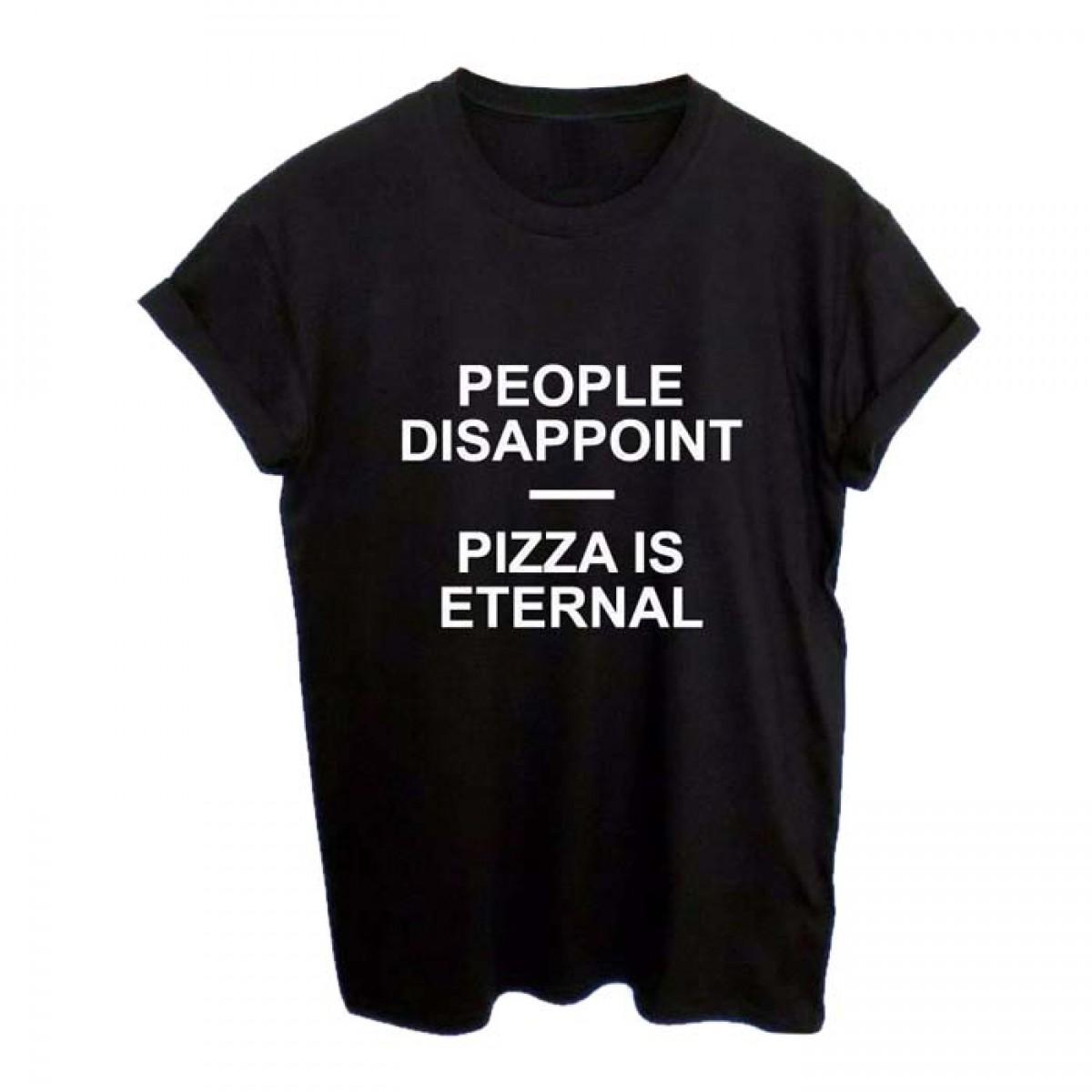 Black t shirt grunge - People Disappoint Pizza Is Eternal Grunge Rebel Black Tshirt