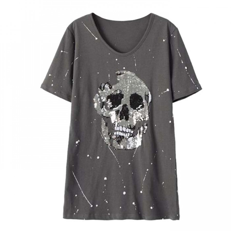 Womens Skull T-Shirt Grey with Silver Sequins Embroidery for Halloween Sizes S-XL