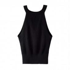 Black Cropped Sleeveles Knit Grunge Top
