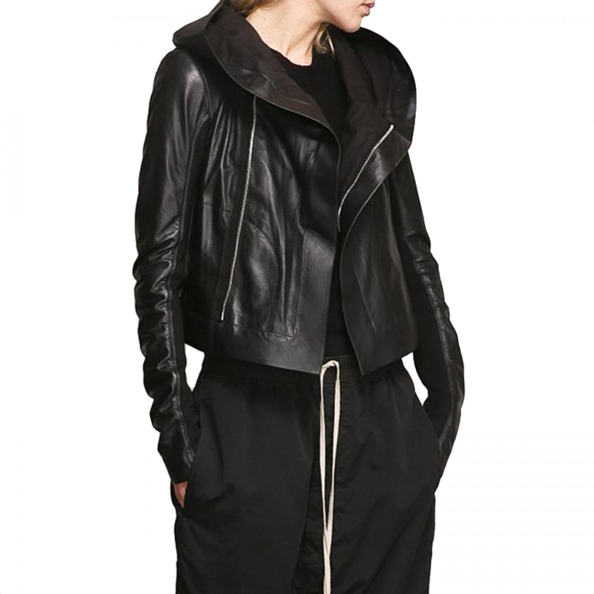 Womens Hooded Leather Jacket | LATICCI