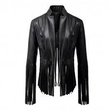 Black Fringe Leather Jacket