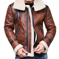 Mens Brown Leather Aviator Jacket